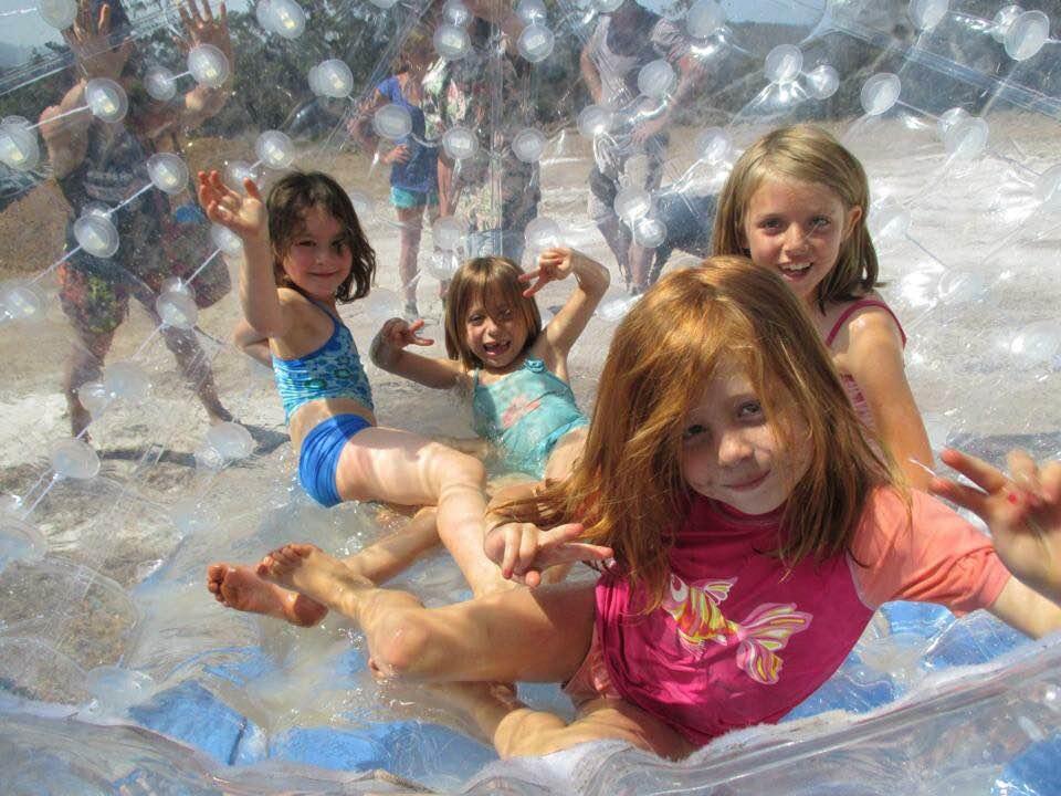 Hydro-orbing down the hill at Denmark Thrills will get the kid's adrenalin running
